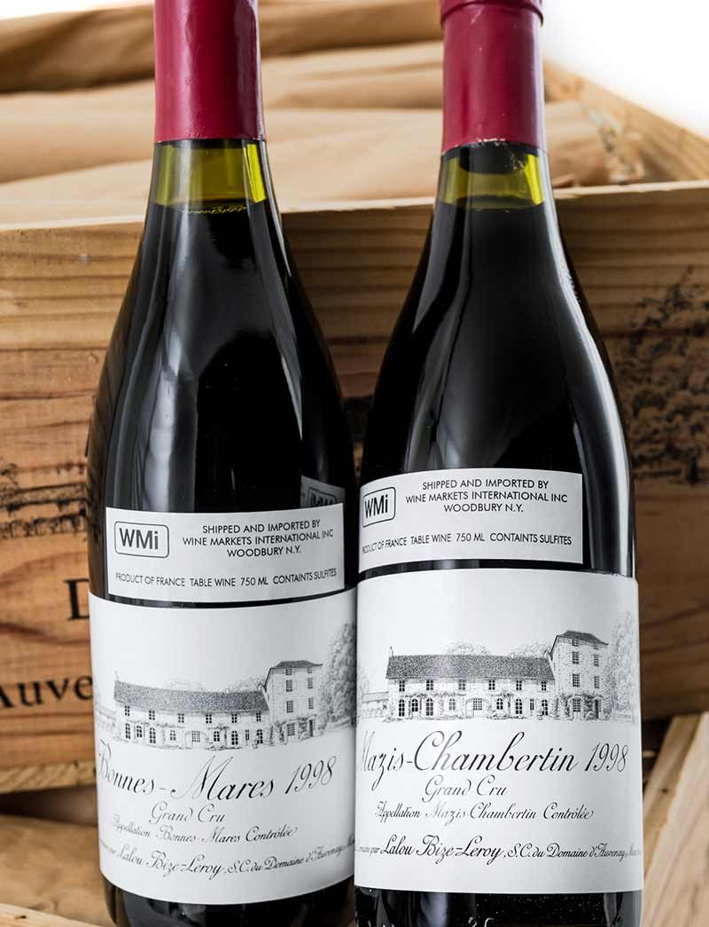 Lot 1047, 1050: 12 bottles each 1998 D'Auvenay Bonnes Mares and Mazis Chambertin in OWC