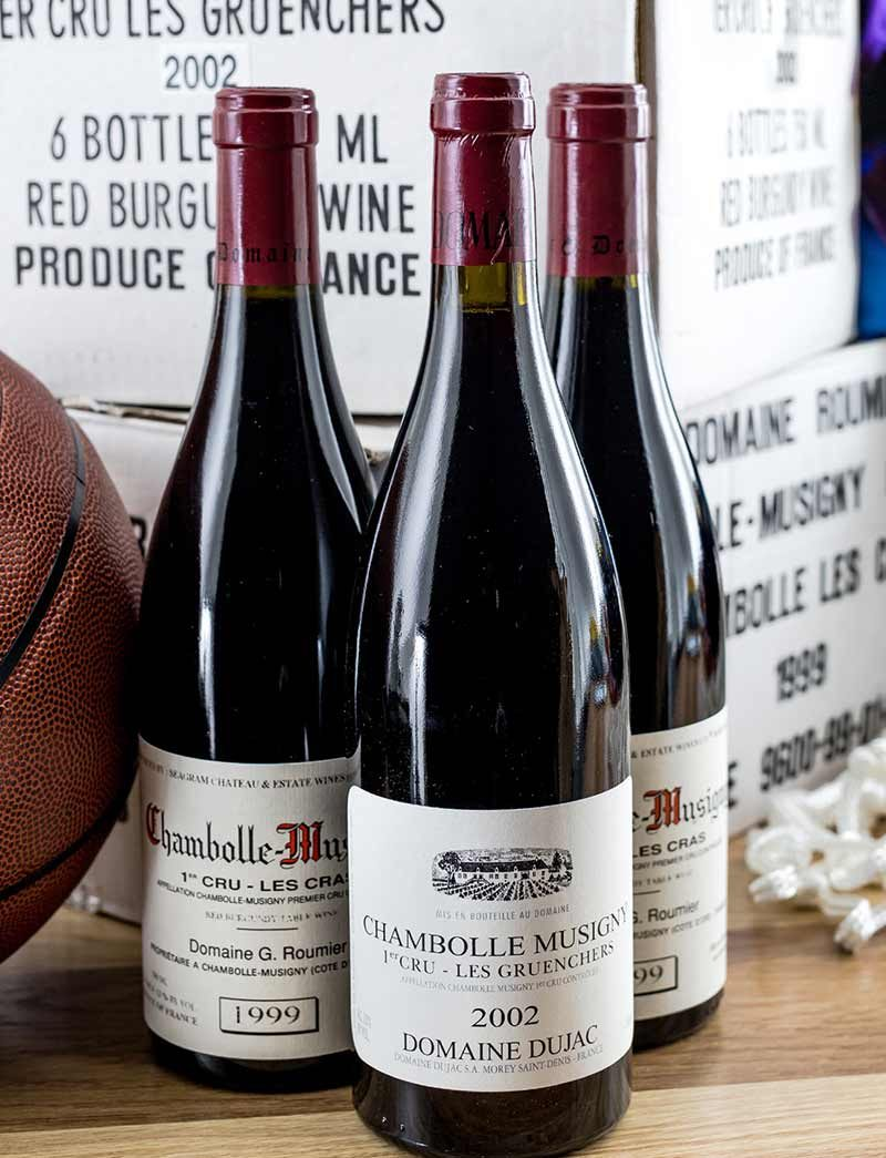 Lot 1385, 1395: 6 bottles 2002 Dujac Chambolle Musigny Les Gruenchers in OCB and 12 bottles 1999 G. Roumier Chambolle Musigny Les Cras in OCB