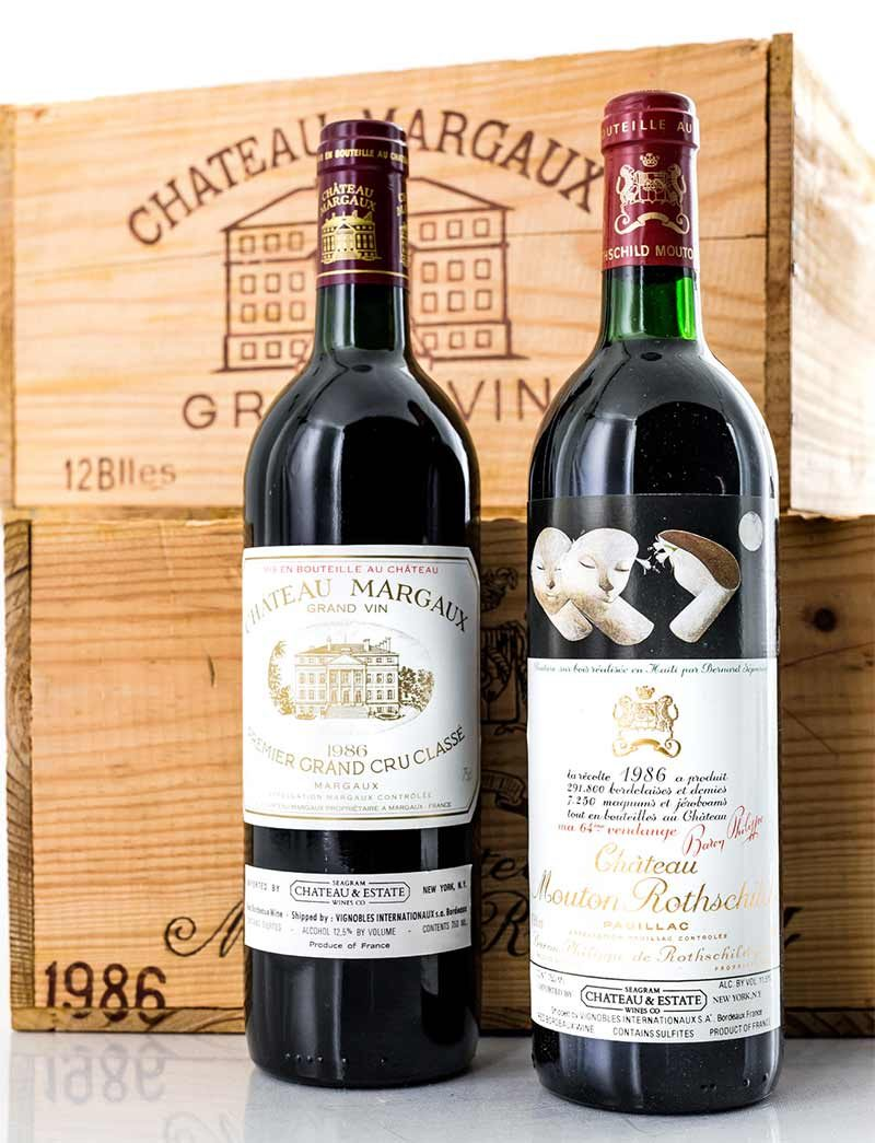 Lot 21, 25: 12 bottles each 1986 Chateau Margaux and Chateau Mouton Rothschild in OWC