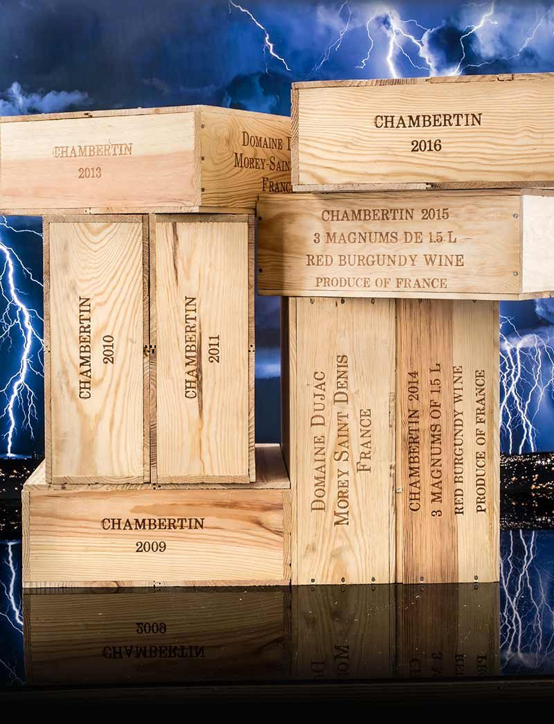 Lot 406-409, 411, 413, 415, 417: 3 magnums ea 2009-2014, 6 ea 2015-2016 Dujac Chambertin in OWCs